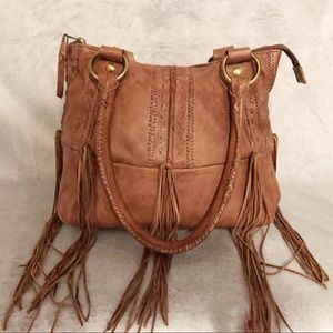 Scully Brown Leather Fringe Satchel Handbag